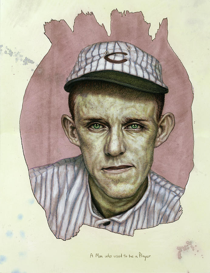 Baseball Painting - A Man who used to be a Player by James W Johnson