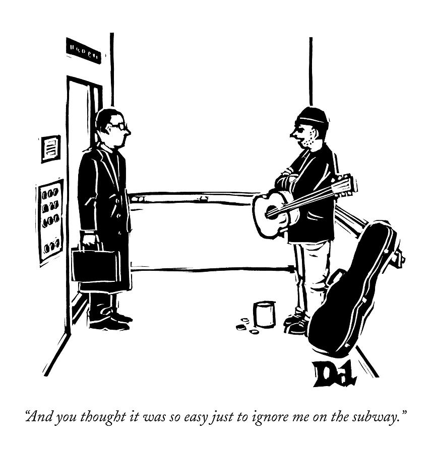 A Man With A Guitar And Open Guitar Case Stands Drawing by Drew Dernavich