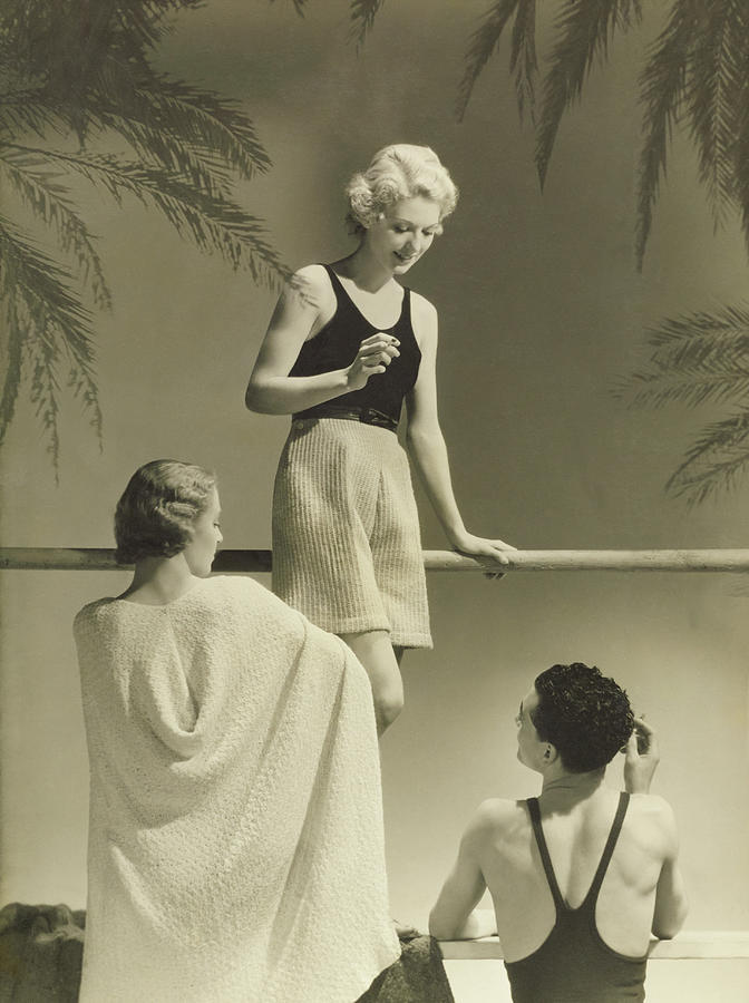 A Man With Peggy Leaf And Marie-claude Vogel Photograph by Horst P Horst