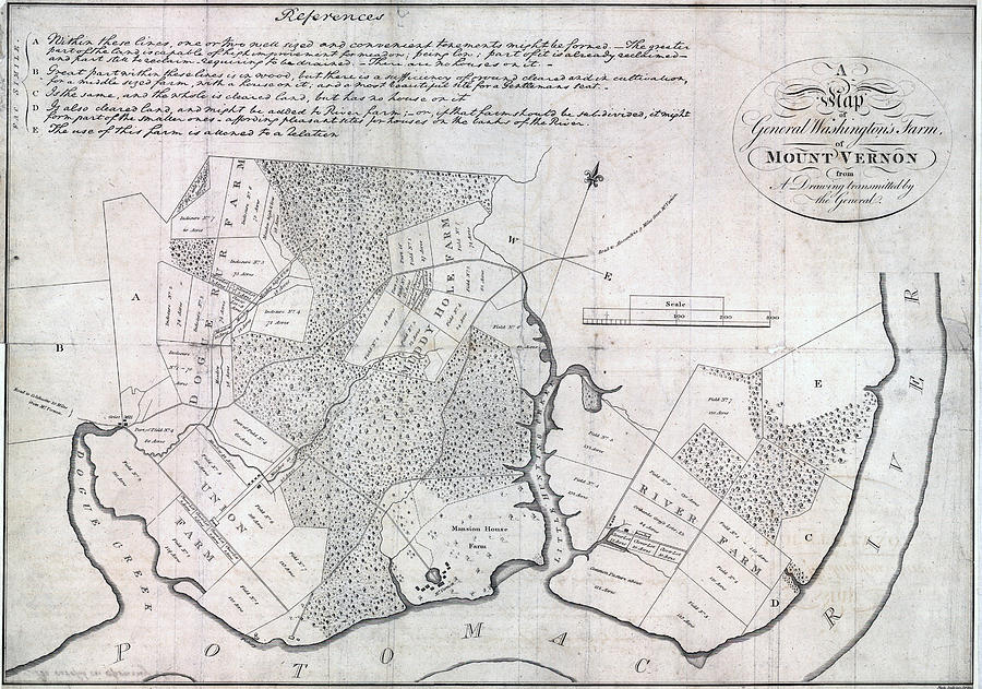 1790s Photograph - A Map Of General Washingtons Farm by Everett