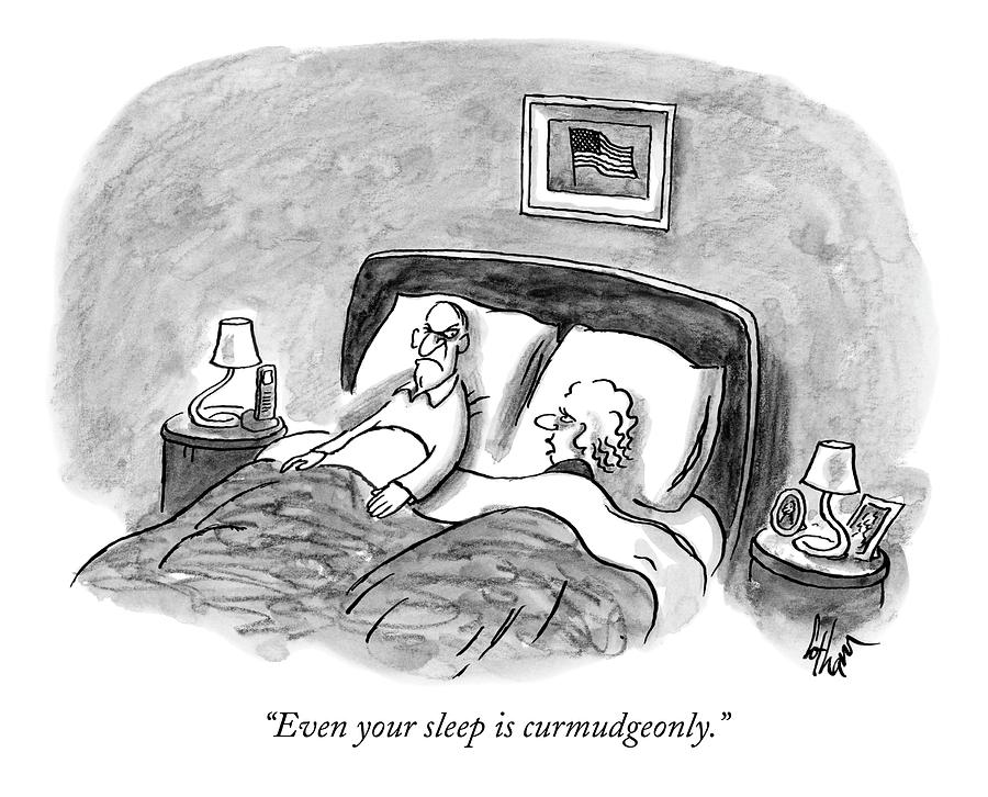 A Married Couple Talks In Bed Drawing by Frank Cotham
