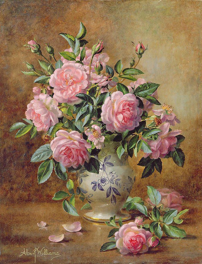 Roses In Garden: A Medley Of Pink Roses Painting By Albert Williams
