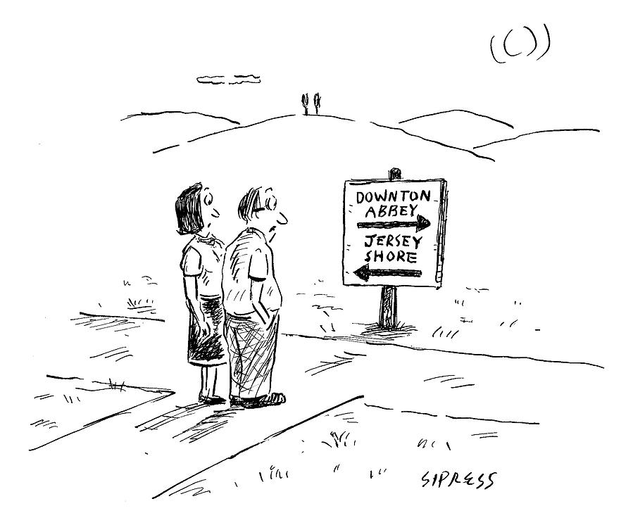 A Middle-aged Couple Stand At A Road Sign Drawing by David Sipress