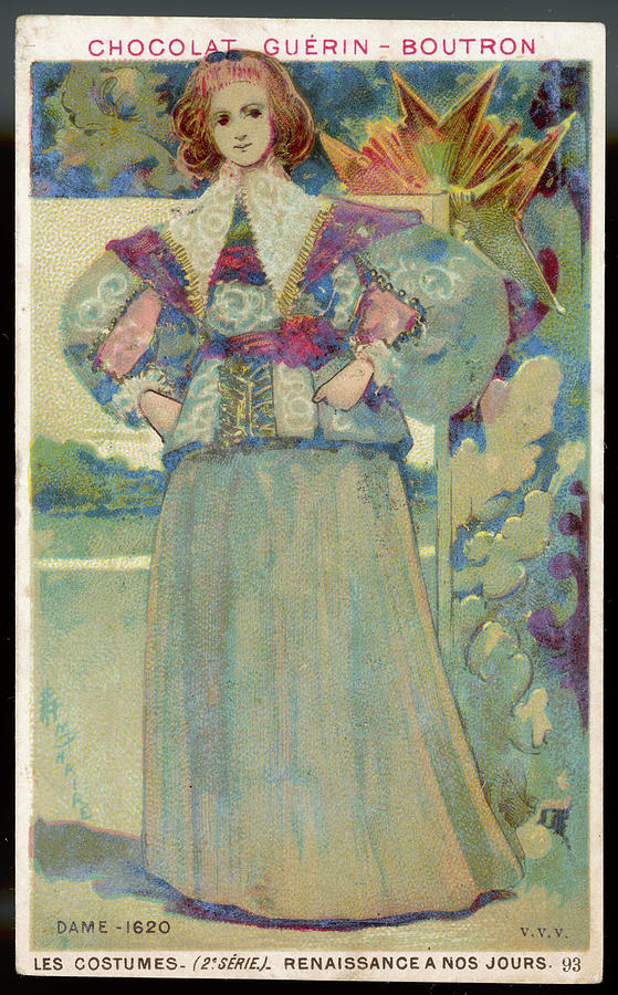 Costume Drawing - A Middle-class Lady In  Lacy Collar by Mary Evans Picture Library