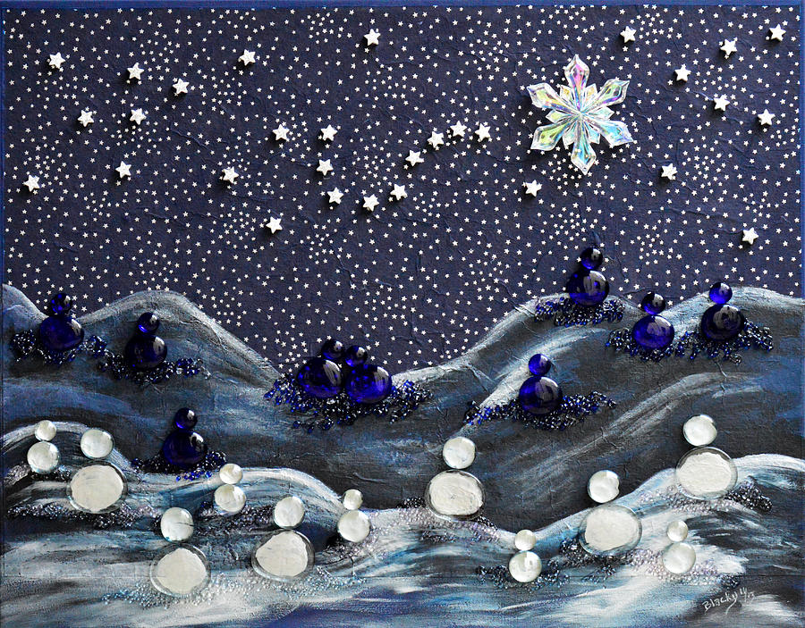 Snow Mixed Media - A Midnight Clear by Donna Blackhall