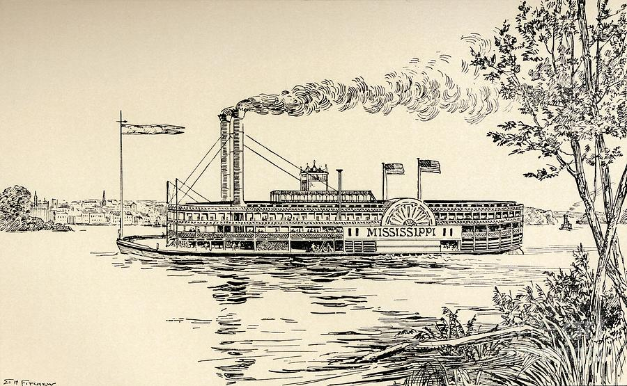 Steam Boat Drawing - A Mississippi Steamer Off St Louis From American Notes By Charles Dickens  by EH Fitchew