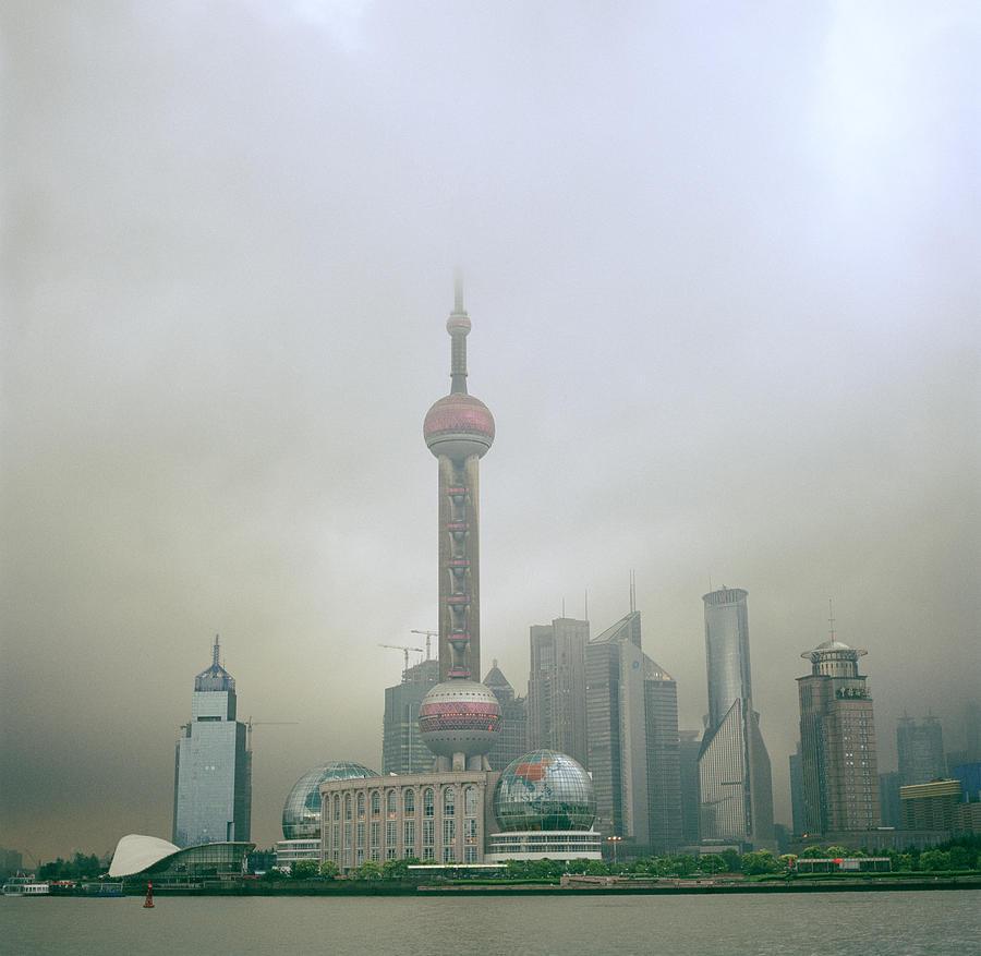 Shanghai Skyline Photograph - A Misty Pudong by Shaun Higson