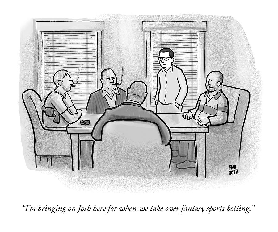 A Mobster Speaks To A Table Of Mobsters Drawing by Paul Noth