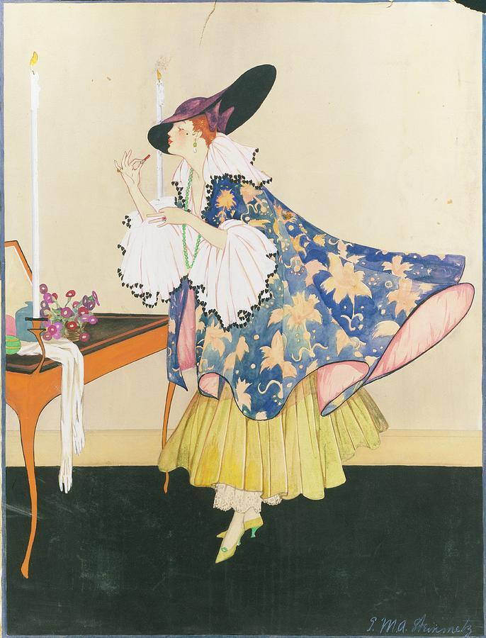 A Model Applying Lipstick Digital Art by E.M.A. Steinmetz