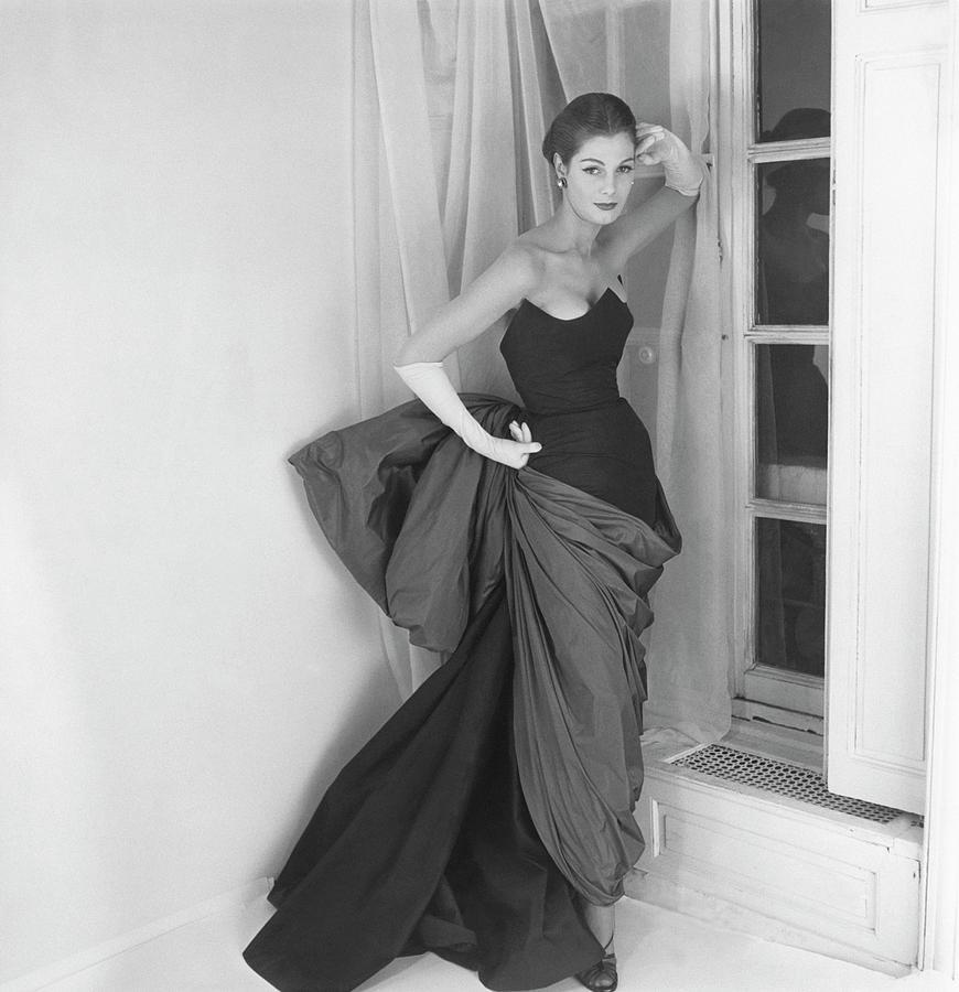 Fashion Photograph - A Model In A Schiaparelli Dress by Henry Clarke