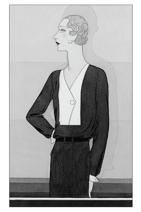 A Model In A Schiaparelli Suit Digital Art by Douglas Pollard