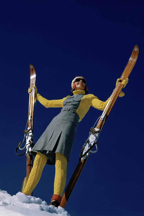 A Model In A Ski Suit Photograph by Toni Frissell