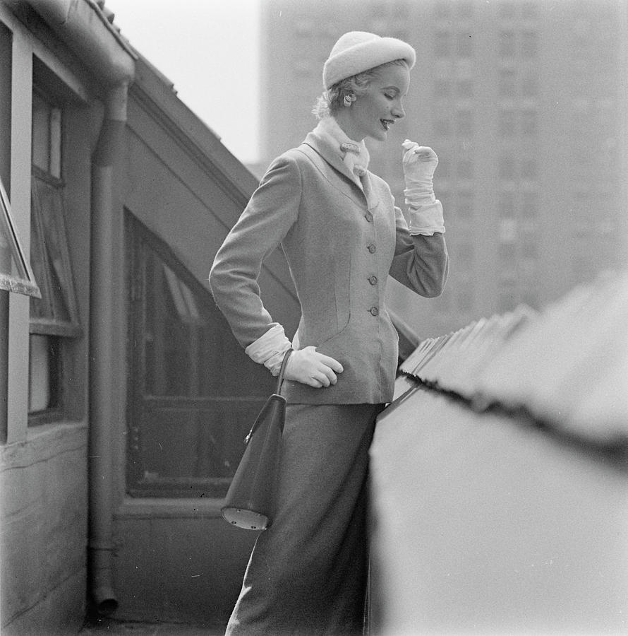 A Model In A Tweed Suit Standing On A New York Photograph by Richard Rutledge