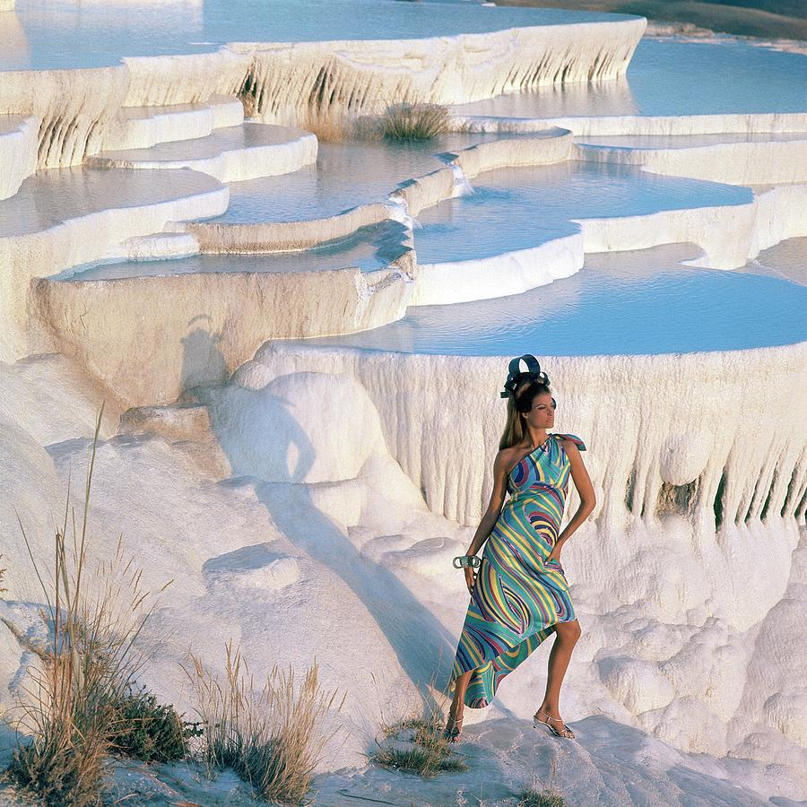 A Model On The Cliffs Of Pamukkale Photograph by Henry Clarke