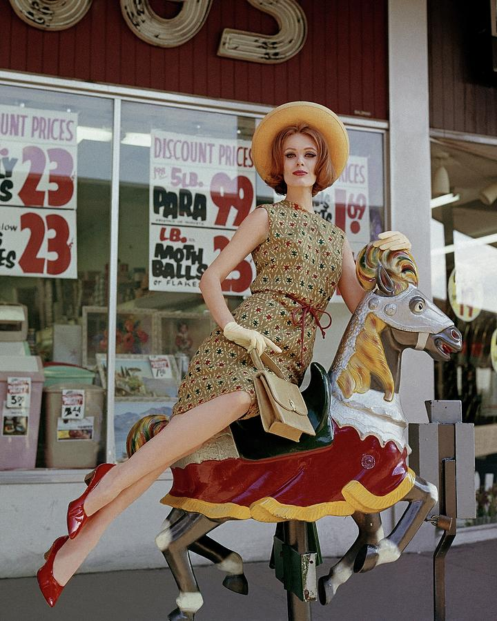 Full Length Photograph - A Model Sitting On A Rocking Horse by George Barkentin