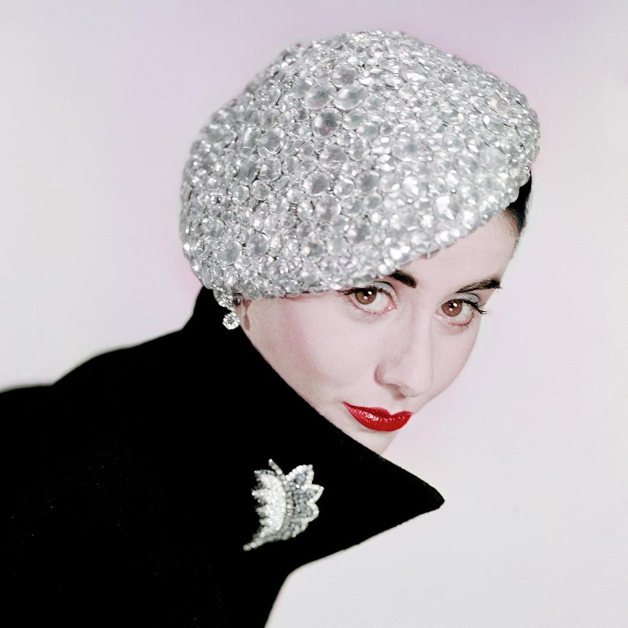 A Model Wearing A Beret Covered In Beads Photograph by Erwin Blumenfeld