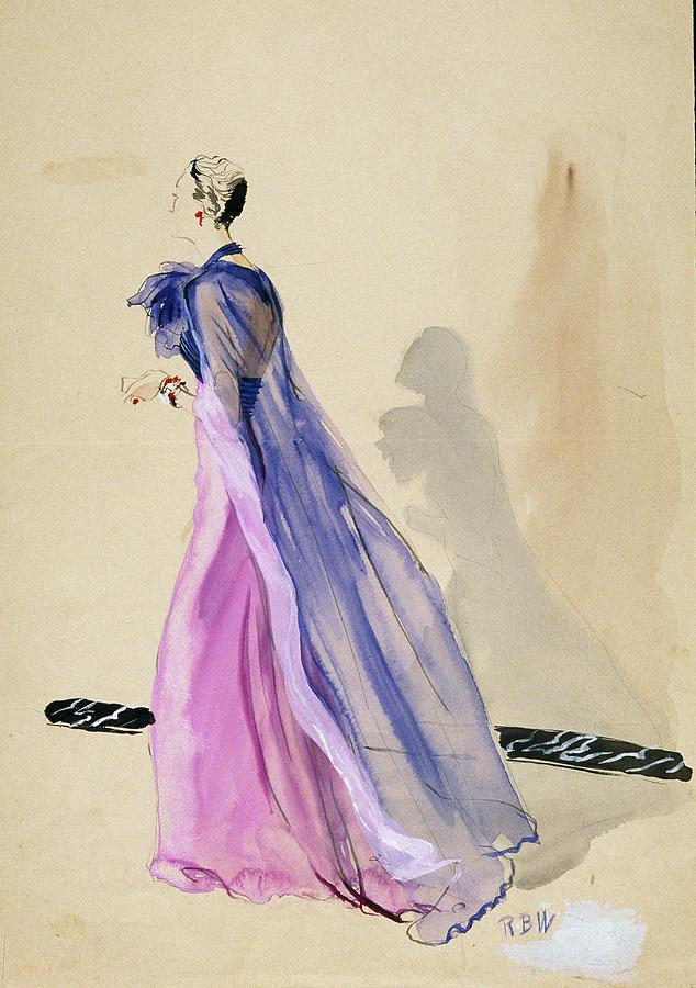 A Model Wearing A Blue Cape And Pink Chiffon Digital Art by Rene Bouet-Willaumez