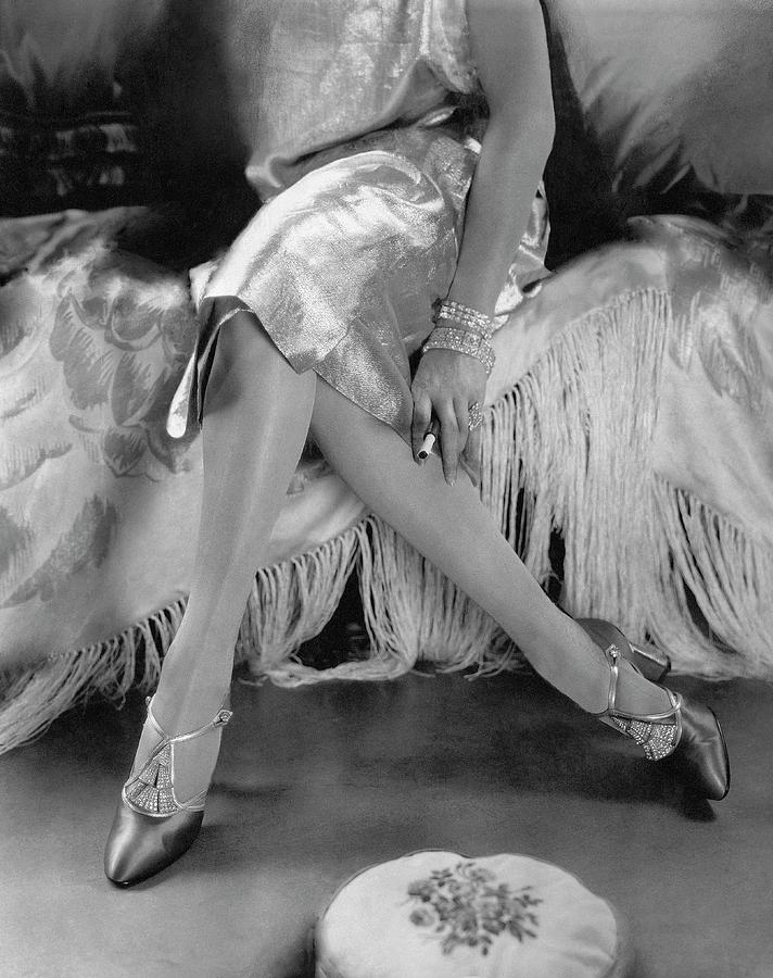 Accessories Photograph - A Model Wearing A Dress And Perugia Shoes by Edward Steichen