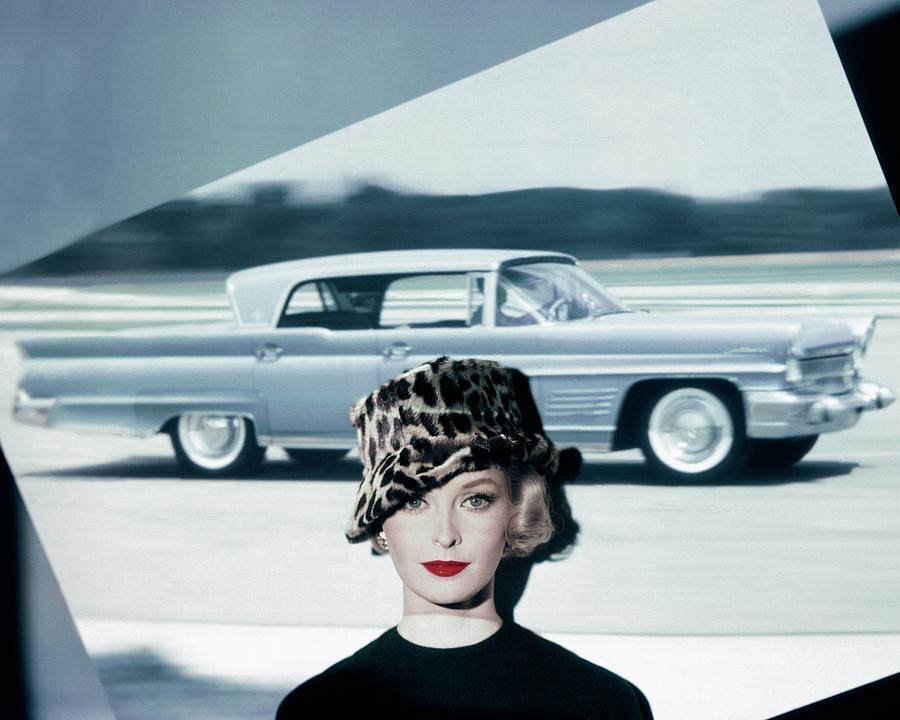 A Model Wearing A Leopard Print Hat Photograph by John Rawlings