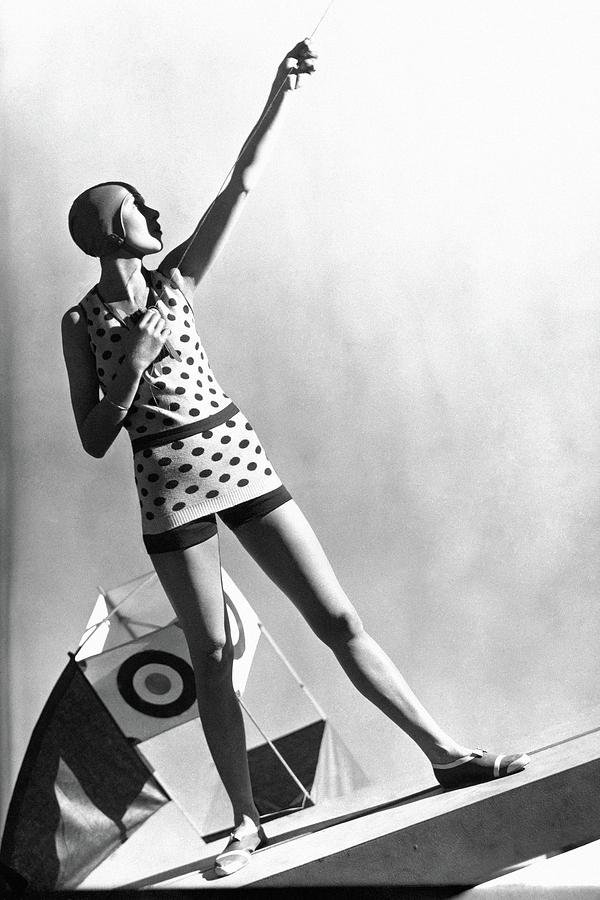 A Model Wearing A Polka Dot Swimsuit Photograph by George Hoyningen-Huene