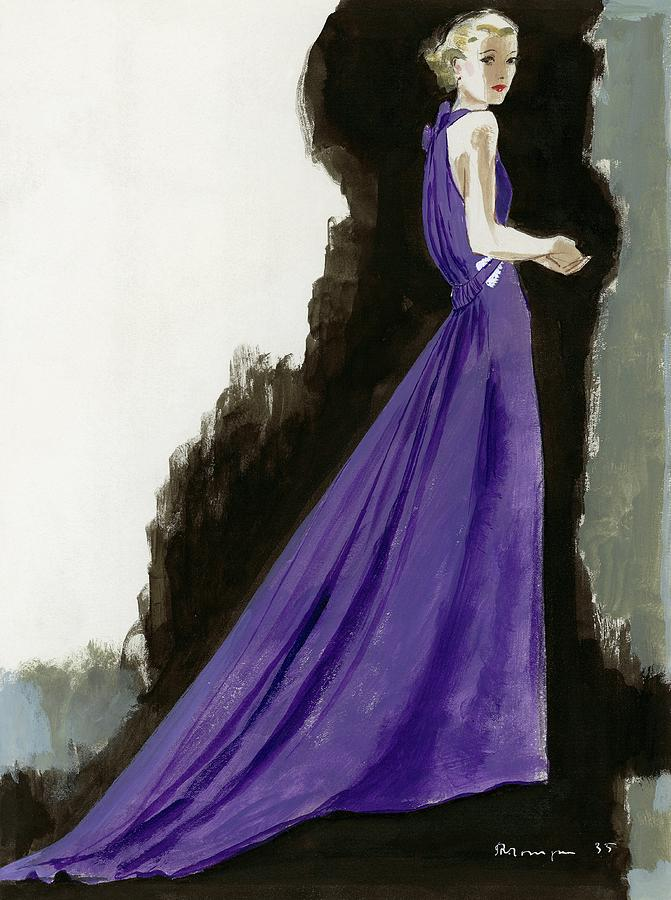 A Model Wearing A Purple Evening Dress Digital Art by Pierre Mourgue