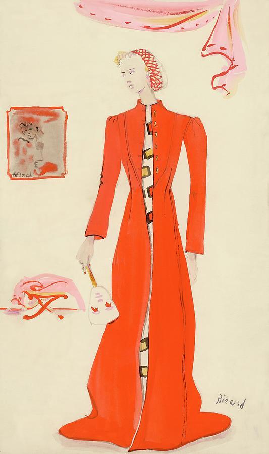 A Model Wearing A Schiaparelli Military Red Coat Digital Art by Christian Berard