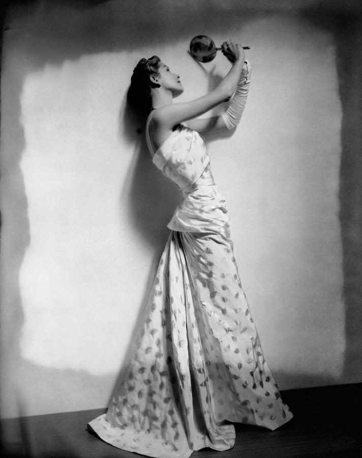 A Model Wearing Leaf Patterned Dress Photograph by Cecil Beaton