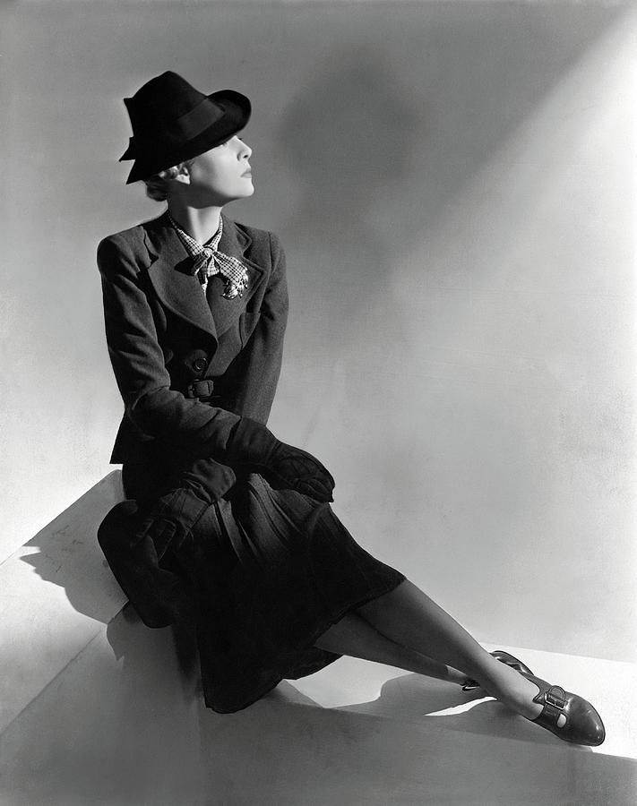 A Model Wearing Molyneux And A Hat By Descat Photograph by Horst P. Horst