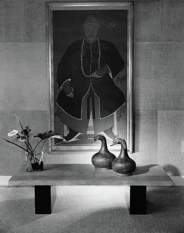 A Modern Table With An Oriental Painting Photograph by Tampone