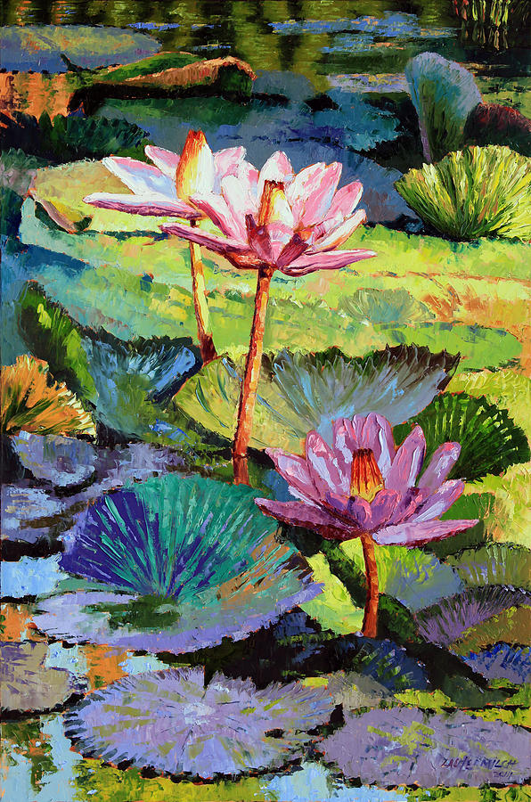 Water Lilies Painting - A Moment In Sunlight by John Lautermilch