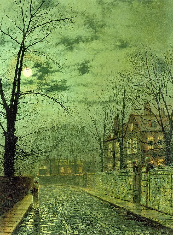 Street Painting - A Moonlit Road by John Atkinson Grimshaw