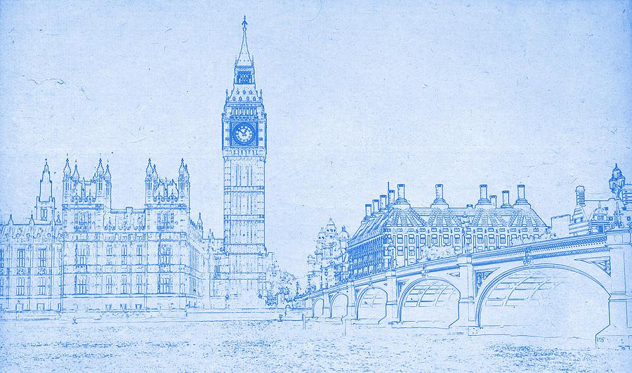 Big ben in london blueprint drawing digital art by motionage designs painting digital art big ben in london blueprint drawing by motionage designs malvernweather Choice Image
