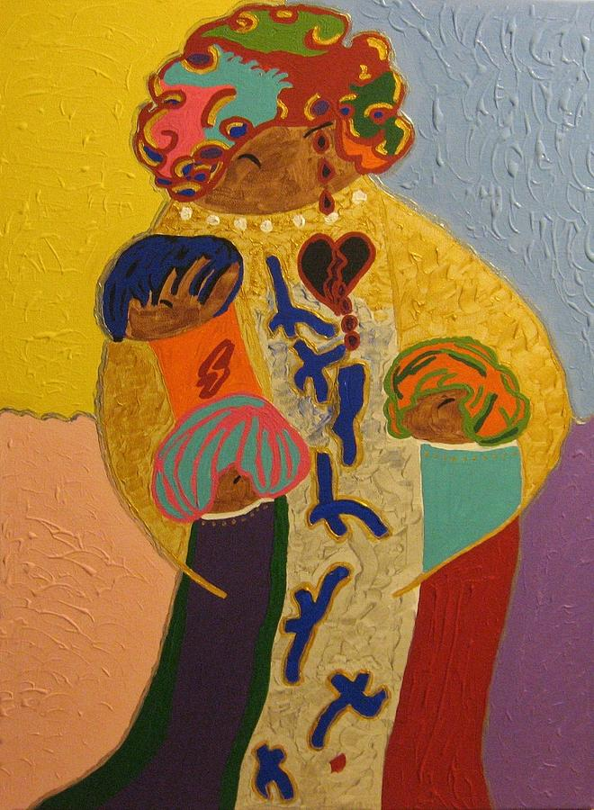 Oil On Canvas Painting - A Mothers Love by Clarissa Burton