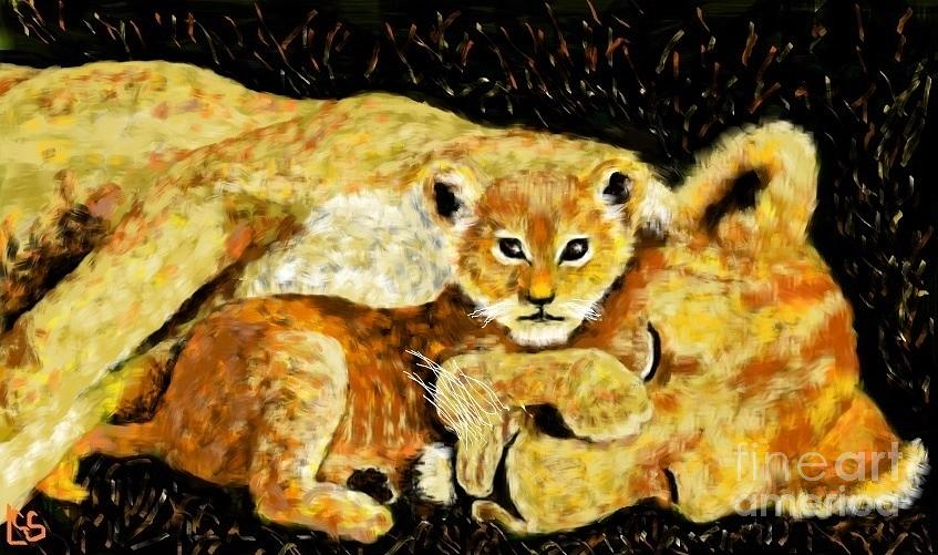 Nature Painting - A Mothers Love - In The Den By Lcs by LCS Art