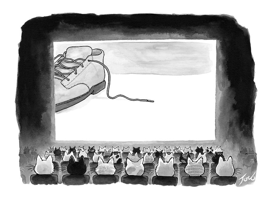 A Movie Theater Audience Of All Cats Watches Drawing by Tom Toro