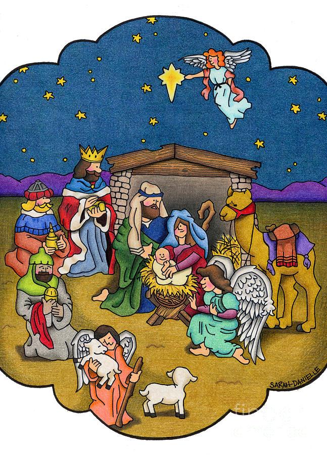 Angels Painting - A Nativity Scene by Sarah Batalka
