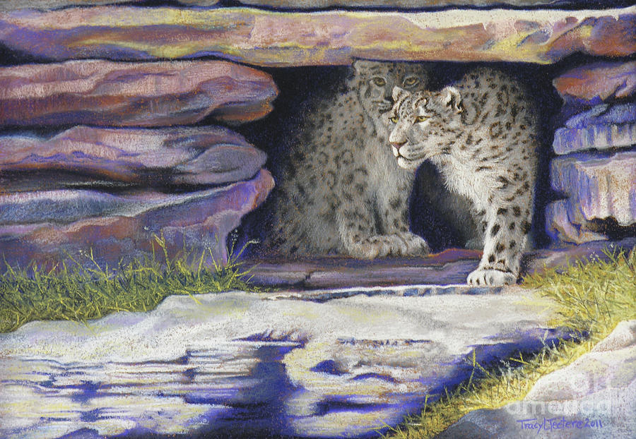 Snow Pastel - A New Day - Snow Leopards by Tracy L Teeter