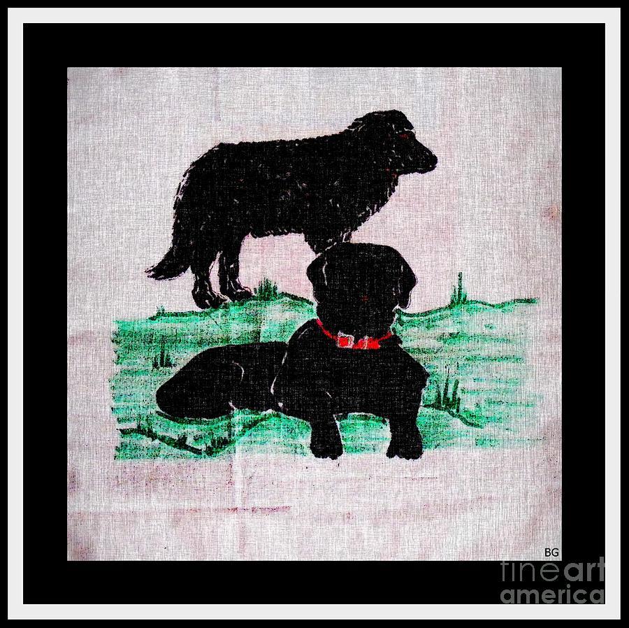 Newfoundland Digital Art - A Newfoundland Dog And A Labrador Retriever by Barbara Griffin