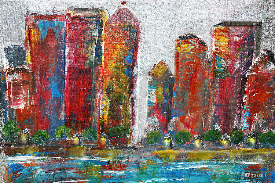 City Painting - A Night In The City by Melisa Meyers