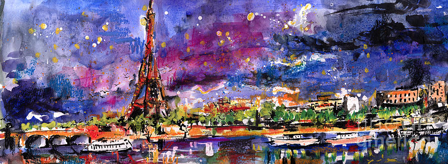 A Night Out In Paris Panorama by Ginette Callaway