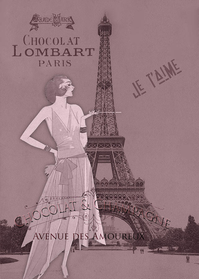 Romance In Paris Digital Art - A Night To Remember Valentine by Sarah Vernon