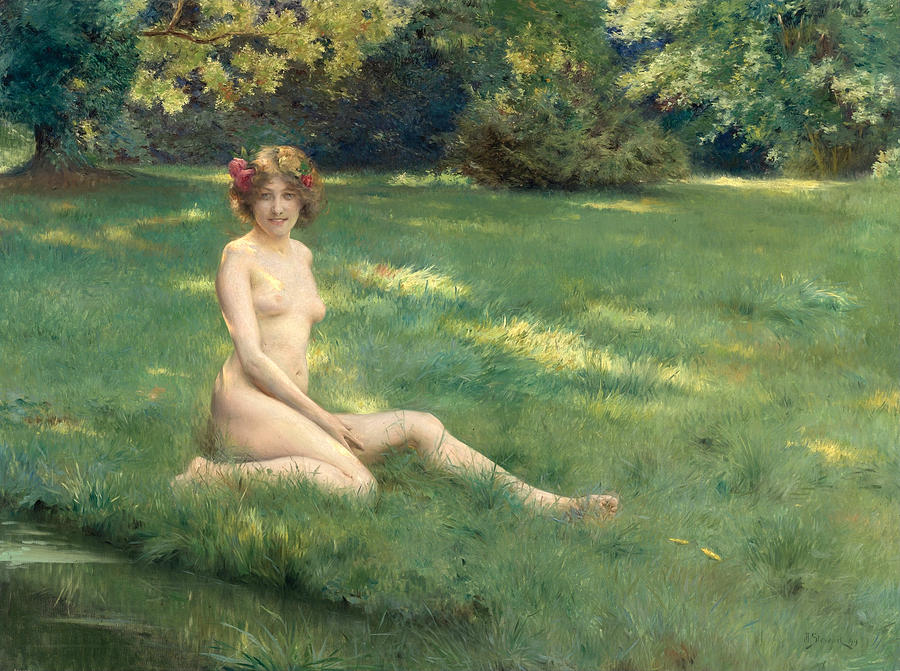 Nude on lawn