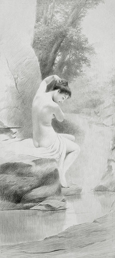 Nudes Drawing - A Nymph by Charles Prosper Sainton