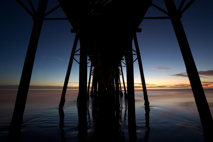 California Photograph - A Ocean Pier At Sunset In California by Peter Tellone