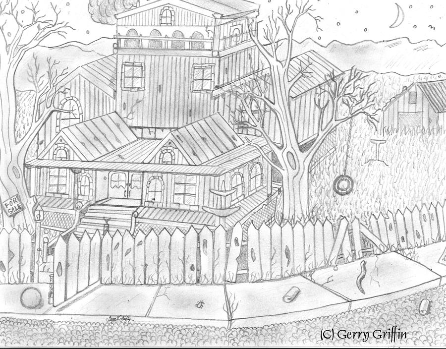 A Old Mansion Home Drawing By Gerald Griffin