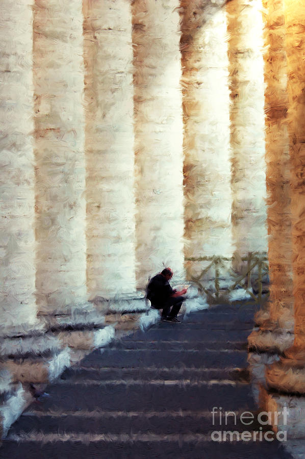 Alone Photograph - A Painting Alone Among The Vatican Columns by Mike Nellums