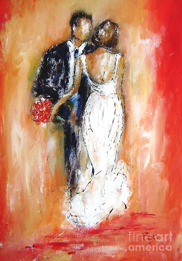Wedding Painting - A painting gift for the wedding couple by Mary Cahalan Lee- aka PIXI