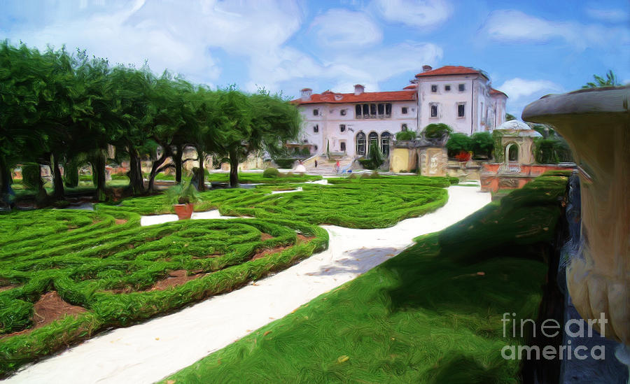 A Painting Villa Vizcaya Rear Gardens Photograph