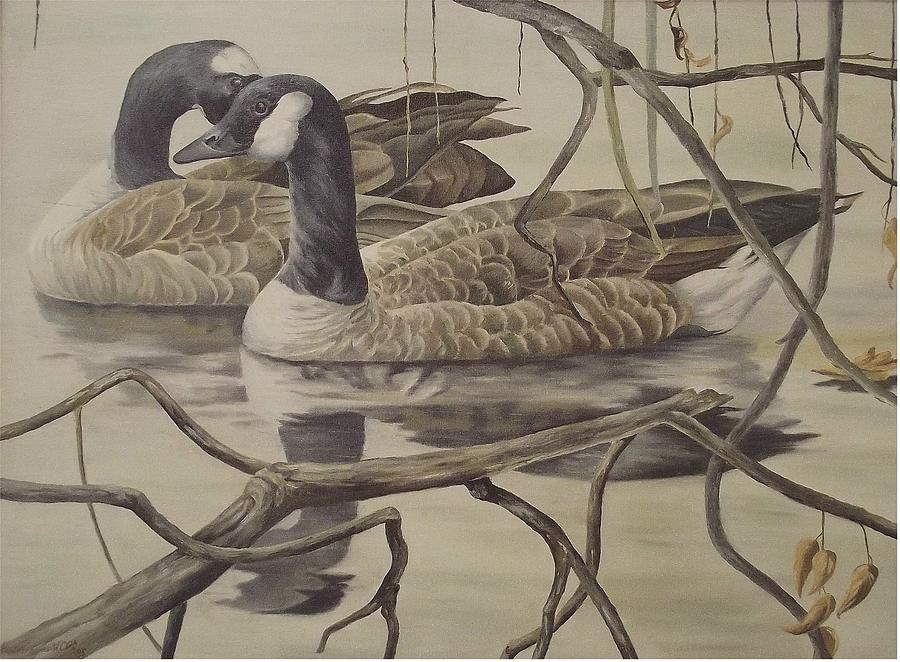 Water Painting - A Pair Of Ducks by Wanda Dansereau