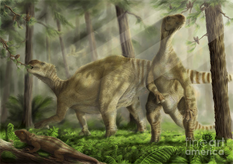 Paleontology Digital Art - A Pair Of Iguanodon Bernissartensis by Alice Turner